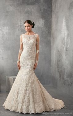 Wedding Dresses 2016 Illusion Long Sleeves Ronald Joyce With Jewel Neck And Covered Buttons Classic Lace Vestido De Noiva Custom Made Cheap Bridal Dresses Mermaid Evening Gowns From Uniquebridalboutique, $162.31| Dhgate.Com