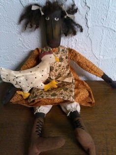 Primitive Black Folk Art Doll Set Chicken | eBay