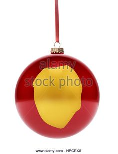 A hanging glossy red bauble with the golden shape of Sierra Leone.(series) - Stock Image
