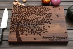 Personalized Cutting Board Wood Cutting Board with by FancyWoods  -- idea for pyrography                                                                                                                                                                                 Más