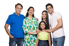 Portrait of a family standing together and smiling Men Casual, India, Stock Photos, Portrait, Mens Tops, Image, Dresses, Fashion, Vestidos