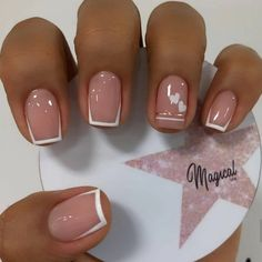 French Tip Acrylic Nails, French Manicure Nails, Best Acrylic Nails, French Tip Toes, Classy Nails, Simple Nails, Trendy Nails, Short Gel Nails, Pretty Short Nails