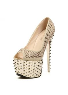 Gold Spiked Peep Toe High Heels for Party on sale only US$24.07 now, buy cheap Gold Spiked Peep Toe High Heels for Party at martofchina.com