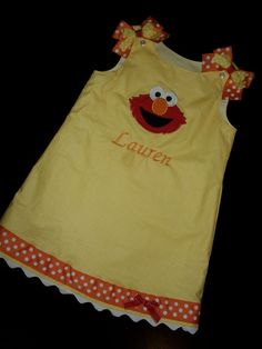 Elmo Jumper Dress yellow dot  embroidered with by kandybarnett, $35.00