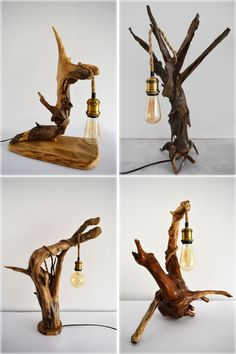 23 Clever DIY Christmas Decoration Ideas By Crafty Panda Driftwood Furniture, Driftwood Lamp, Driftwood Crafts, Rustic Furniture, Diy Furniture, Rustic Lamps, Wood Lamps, Rustic Lighting, Diy Home Crafts