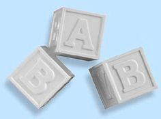 White Plastic Baby Blocks with Lids - Baby Shower Decoration Ideas - Baby Shower Accents