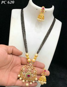 Bead Jewellery, Jewellery Designs, Gold Jewelry, Beaded Jewelry, Gold Designs, Gold Earrings Designs, Necklace Designs, Indian Bridal Jewelry Sets, Gold Mangalsutra