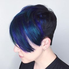 Black Pixie With Long Blue Bangs