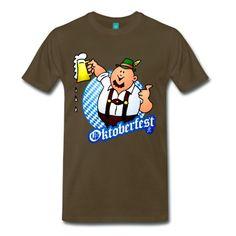 Oktoberfest. Ein Deutsch in München mit Lederhosen trinkt einen großen Becher Bier. T-Shirt #Spreadshirt #Cardvibes #Tekenaartje #Wiesn