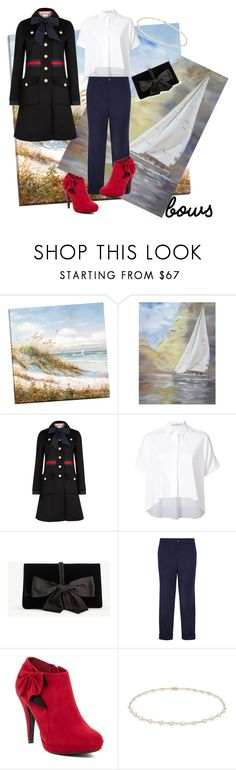 """Bows on the Sea Side"" by daniellemtartaglione ❤ liked on Polyvore featuring Gucci, Alice + Olivia, Ann Taylor, Golden Goose, Impo and Anne Sisteron"