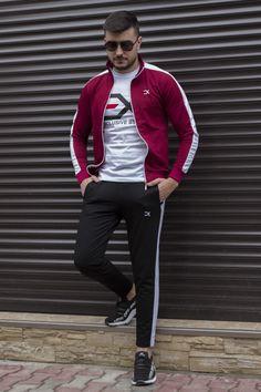 Trening Bumbac EX Visiniu-Alb TRB3 Slim, Jackets, Style, Fashion, Lab Coats, Down Jackets, Swag, Moda, Fashion Styles