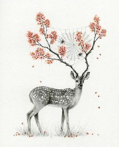 Totally reminds me of a drawing of a girl I did a while back! The antlers!? And the cobwebs?! Didnt think of flowers!!