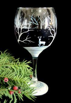 Winter Wonderland Wine Glass Hand Painted by LKCustomCreations