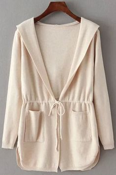 Pure Color Hooded Collar Long Sleeves Waisted Cardigan