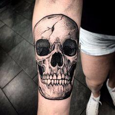 tattoodo   Skull tattoo by Szejn Szejnowski via Instagam @szejno #blackwork #blckwrk #btattooing #dotwork #dotshading #skulltattoo #skull #Szejno   Tattoodo