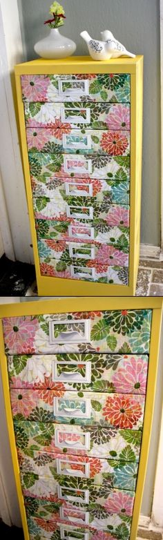Spring Cleaning idea: Add fabric to drawer fronts of old cabinet.or dressers for spiffed-up storage...DIY DRESSER RENOVATION