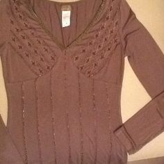 ✨ Light Brown embelished top NWOT✨ Form fitting long sleeve. Nice detailed trim and beading. SAN JOY Tops