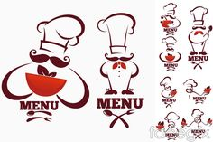 Free download Creative chef logo vector . Free vector includes Vector material, Cook, flags, food, cooking, menu, fork, kitchen knives, Chef's hat, vector logo.