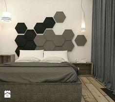 Mieszkanie heksagon od take design Master Bedroom Interior, Modern Bedroom Design, Contemporary Bedroom, Bed Design, Bedroom Apartment, Bedroom Furniture, Bedroom Decor, Master Bedrooms, Black Furniture
