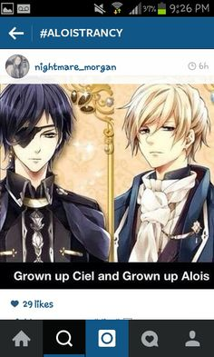 Grown up Ciel and Alois- I've played the game with these characters and I cried cause i thought it was really alois,it's like a dating anime prince game thing