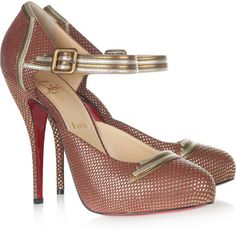 LOUBOUTIN Myriam 120 Embossed Leather Pumps
