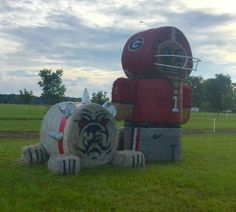 Go Dawgs! hay bale art Homecoming Spirit Week, Homecoming Parade, Straw Bales, Hay Bales, Halloween Art, Halloween Decorations, Hay Bale Decorations, Scarecrow Ideas, Scarecrow Festival