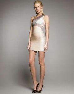 Herve Leger Ombre One Shoulder Bandage Dress Heidi Montag