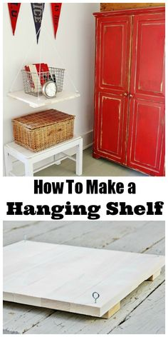 Make a hanging shelf out of boards.  thistlewoodfarms.com