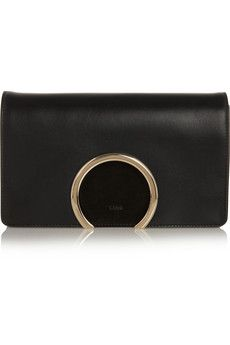 Chloé Gabrielle leather and suede clutch   NET-A-PORTER