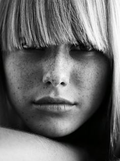 beautiful freckles | fringe | black & white photography | model | beautifully natural and naturally beautiful