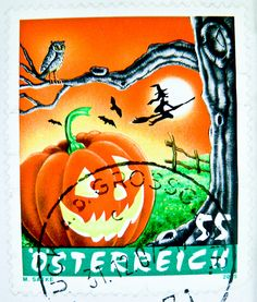 great stamp Austria 55c Halloween Jack O'Lantern 傑克南瓜燈 Jack-o'-lantern ジャックランタン Kürbis tête de citrouille Хэллоуин Cucurbita punkin' pumpkin head witch owl bats pompoen hoofd postage timbre Autriche sello calabaza francobollo Austria postzegel Oostenrijk