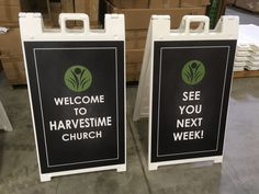 We love the chalkboard look (a free design!) that Harvestime Church used on their sidewalk signs.