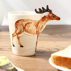 1 PC Main-Peinture 3D Animaux Tasse Tasse Blanc Cheval Cerf Lait de Vache chameau Lion Tasse Creative Tasses Et Tasses Café Thé Tasse Bureau la maison