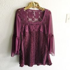 S A L E // Free People Crochet Sweater Top Beautiful blouse! A mix of crochet, sweater material and chiffon. Great condition! Free People Tops Blouses