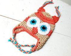 Striped Baby Owl Hat, Orange and Tan Hat, Infant Ear Flap, Animal Hat, Child's Hat, Newborn Photo Prop, Soft, Classic, Crochet Owl
