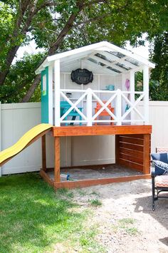 The DIY playhouse is done. See how we roofed it to protect the wooden playhouse and the kids this summer. Housefulofhandmade.com