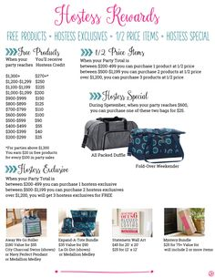 Thirty-One September Hostess Rewards