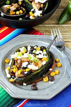 Fajita Seasoned Chicken Black Beans and Corn Stuffed Poblano Peppers is a dinner full of flavor, full of nutrients and takes less than 30 minutes to make.