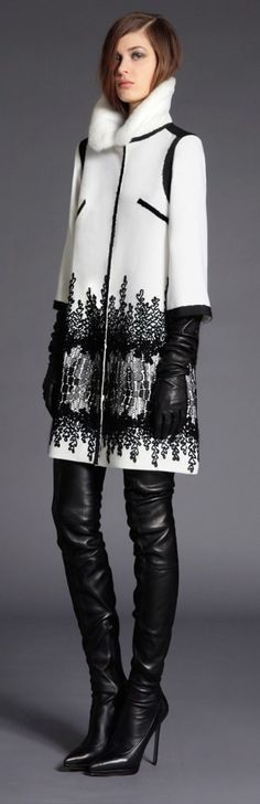 Love the 3/4 sleeve coat with the opera length, leather gloves and thigh-high, leather boots - Andrew GN