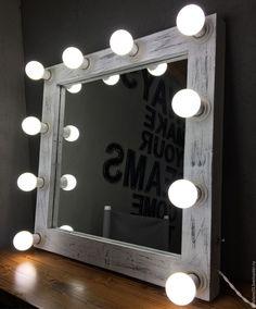 Купить Гримерное зеркало ZERO. - чёрно-белый, гримерное зеркало, зеркало, зеркало гримера, гримерка
