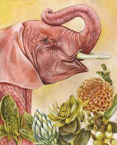 13 x 19 Baby Elephant Print by liseljane on Etsy, $65.00