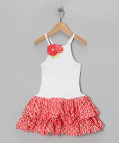 Look at this #zulilyfind! White & Coral Cerise Floral Dress - Infant & Girls by Sophie Catalou #zulilyfinds