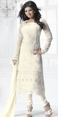 07a38af87b $66.67 White Full Sleeve Embroidery Georgette Long Churidar Salwar Suit  24321 White Salwar Suit, White