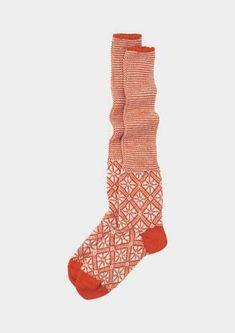 ORGANIC LONG FAIR ISLE SOCK   Warm and richly coloured Fair Isle patterned socks. Medium weight, organic wool.