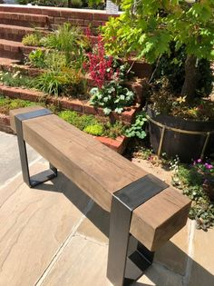 This is our garden bench made from a solid oak sleeper, it is very strong and sturdy and will look very stylish in the garden Measures meters high wide Shipping to uk mainland only Please note due to the natural nature of our product wood colours may vary Back Garden Design, Japanese Garden Design, Modern Garden Design, Japanese Gardens, Modern Design, Oak Sleepers, Sleepers In Garden, Tropical Landscaping, Backyard Landscaping