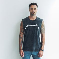 Vintage Metallica muscle is a part of our personal collection. Durable black stonewashed cotton never fails. Raw edges on the sleeves and a perfect fit make this muscle a keeper.   100% cotton Black stone wash Cut sleeve edges Rib neck   Cool wash, hang dry Model wears size XL Xl Models, Metallica, Fails, Perfect Fit, Tank Man, Label, Muscle, Stone, Fitness