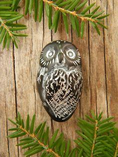 Mr Black Owl focal bead  wideeyed made to order by TreeWingsStudio, $8.00