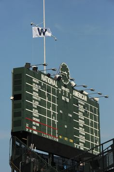 A view of the gorgeous Wrigley Field scoreboard.