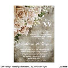 5x7 Vintage Roses Quinceanera Birthday Invitation
