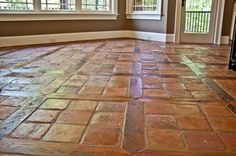 French Terracotta Red Tiles Flooring with Square and Reclaimed Oak Wood Inlay Brick Flooring, Carpet Flooring, Kitchen Flooring, White Flooring, Ceramic Flooring, Modern Flooring, Brick Tiles, Terrazzo Flooring, Flooring Ideas